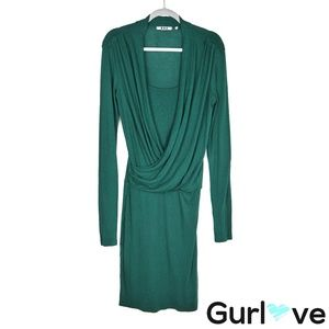Three Dots M Green Faux Wrap Midi Dress